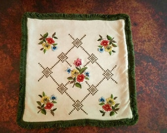 Mid Century Hand Embroidered Throw Pillow Cover Green Fringed