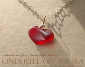 RESERVED Exclusively for Rebecca. Sea Glass Heart, Shaped by Nature Heart Shaped Genuine Red Sea Glass Heart Necklace in 14 kt GF handmade