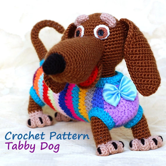 Crochet Pattern. Tabby positive dog