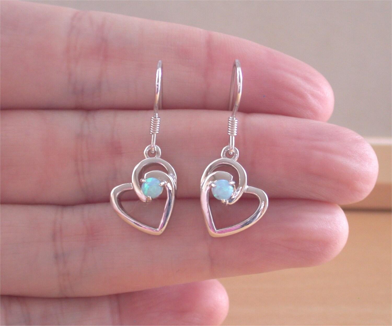 925 blue opal heart earrings opal jewellery opal jewelry opal. Black Bedroom Furniture Sets. Home Design Ideas