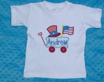 Personalized 4th of July Patriotic Wagon With Flag Applique Shirt or Onesie Girl Boy