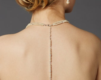 Glass Pearl Bridal Back Necklace with Dramatic Backdrop