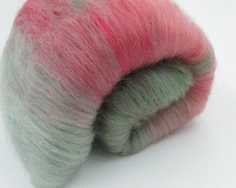 Strawberry Fields - hand carded spinning fiber batt 1.7 oz