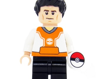 Pokemon Go Trainer (Orange) - miniBIGS Custom Figure made from Genuine LEGO Minifigure Elements