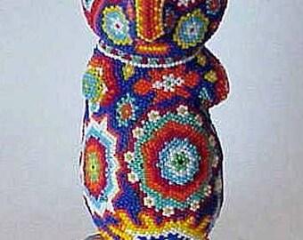"Antique HUICHOL Glass Beaded Creature 8"" Tall Rare"