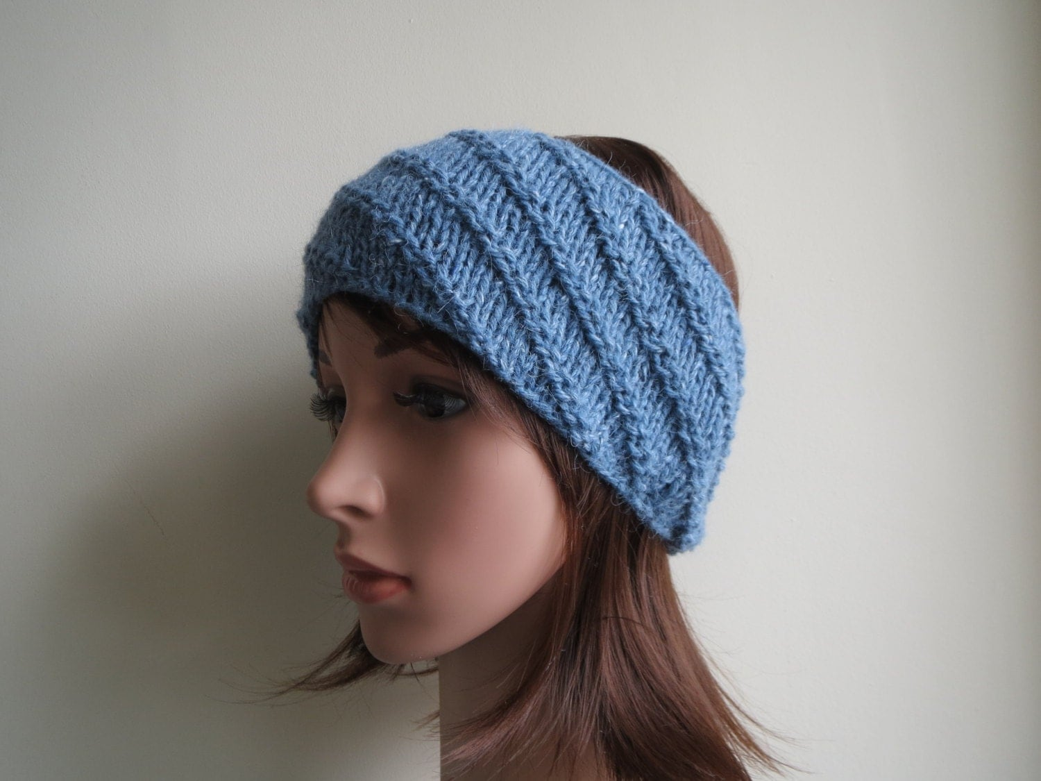 Alpaca Headband Knitting Pattern : Blue Merino Wool & Alpaca Wool Headband Ear warmer. Chunky