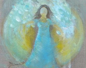 "ORIGINAL Angel painting ""Breakthrough""  Waldorf Style 8x 8 inch"
