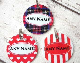 Personalised Pet Dog or Cat  ID Tags With Tartan, Hearts Or Stripes