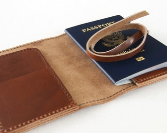 The Dublin - Passport Case and Travel Document Holder in Aged Whiskey Horween Leather