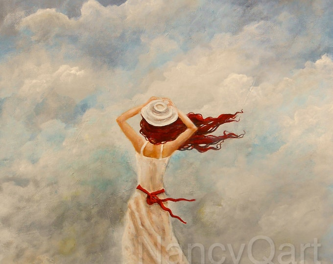 Woman in the wind painting,  Cloud art on canvas, pretty lady wall art, beautiful woman art print.