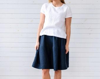 Linen top, Linen blouse, White linen shirt, Linen tee, Linen summer blouse, Linen summer top, Short sleeve linen blouse, Summer linen top