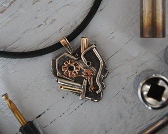 Custom gift for him - sterling silver pendant or keychain, mens gifts, men jewelry, steampunk jewelry, unique gift for boss, mechanic gifts