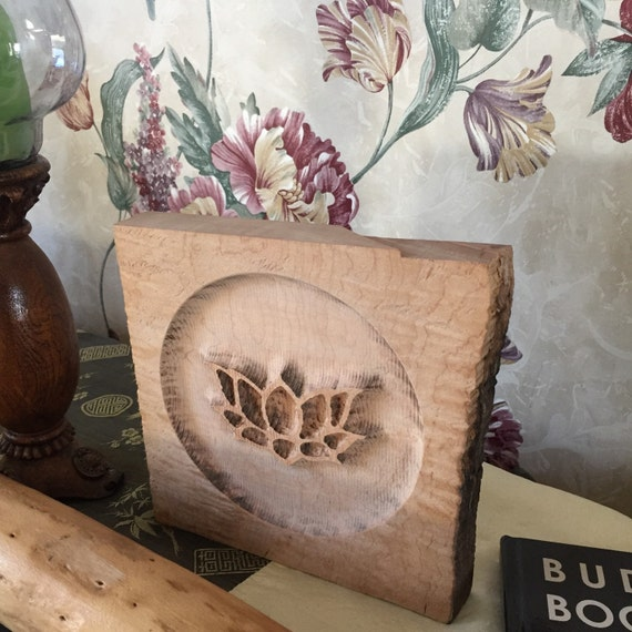 Lotus carving in curly maple by carvinchick on etsy