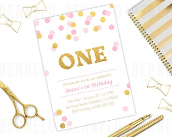 Pink and Gold 1st Birthday Invitation Girl, gold glitter first birthday invitation, Blush Pink and Gold Glitter First Birthday Invitations