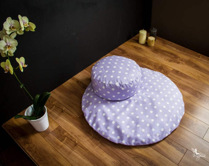 25% off Meditation sit set Zafu Zabuton combo Lilac with Dots cushion mat organic Buckwheat pillow handmade by Creations Mariposa EM-PL