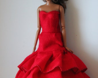 Red Mermaid Dress for 11.5 inch dolls like barbie (55)