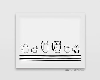 cat, cat print, modern minimalist, cat lover gift, black and white print