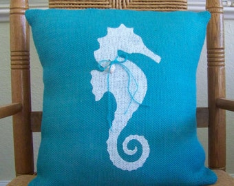 Seahorse pillow cover, Beach pillow cover, Nautical pillow, Burlap pillow, Seahorse stenciled pillow, Turquoise pillow, FREE SHIPPING!