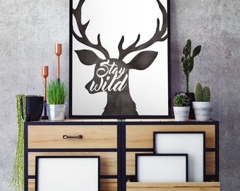 Stay Wild Adventure Print - Adventure Nursery Quote - Nursery Print - Printable Wall Art - Wall Art Nursery Decor
