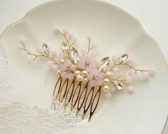Blush Pink Bridal Hair Comb, Gold Crystal Rhinestone Hair Vine Comb, Pink Floral Comb, Blush Pink Wedding Comb, Blush Wedding Hair Accessory