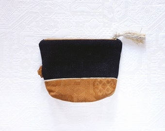Kit bottom bi-material black and camel customizable - small pouch for small business - jewellery - makeup - to put in the bag