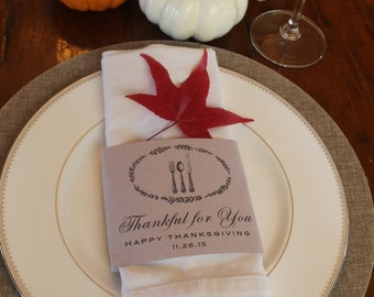 Thanksgiving Napkin Wrap - Instant Download - Shabby Chic, Farmstyle Table Decor