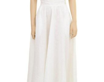 Vintage Skirt, High Waist White Linen Circle Skirt, Calvin Klein, 1990s Skirt, White Skirt, Women's Skirt, Long Skirt, Linen Skirt, Gifts