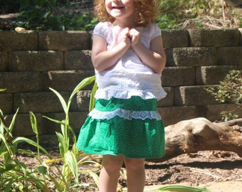Green Lace Ruffled Baby/1T Skirt/Twilight Green Baby Skirt/Green Baby Skirt w/White Stars with matching bloomers