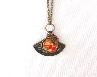 Orange Marigold Flowers Floral Necklace Antique Brass Finish Pendant Necklace with Fan and Flower Charms