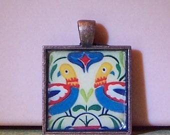 Pennsylvania Dutch bird hex sign bezel pendant necklace