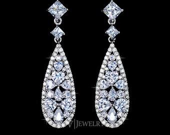 Art Deco Earrings - Wedding Earrings - Cubic Zirconia Earrings - Long Earrings - Dangle Earrings - Teardrop - Vintage Earrings - AE0091