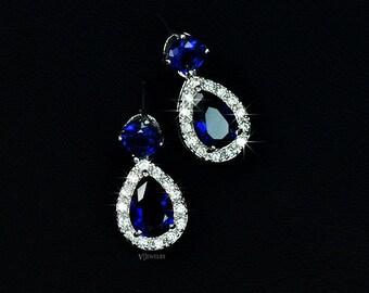 Blue Cubic Zirconia Earrings - Drop Earrings - Teardrop Earrings - Bridesmaid Earrings - Sapphire Earrings - Short Earrings - CZ - AE0046