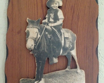 OOAK Folk Art Cutout of Little Girl on a Horse