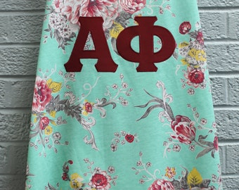Floral Tank With Sewn Sorority Letters