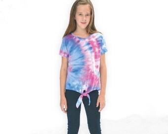 Morrison Tee, girls, juniors, tweens, teens knit dolman shirt, short or long sleeves front tie, hi-low hem sewing pattern pdf sewing pattern
