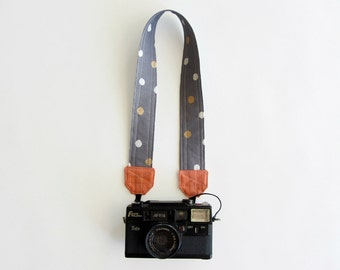 Nikon camera strap, polka dot camera strap, DSLR camera strap, stylish camera strap, grey gold white pink