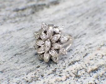 14K White Gold Diamond Floral Cluster Ring