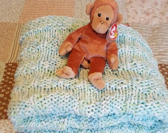 Green and Blue Hand Knitted Baby Blanket
