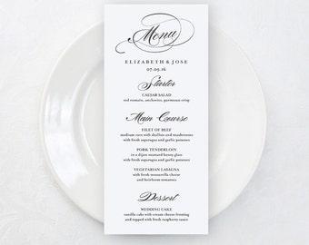 SALE Rustic Wedding Menu Card, Printable Menu Cards, 4x9 Wedding Menu, Elegant Wedding Menu Card, Wedding Table Decor