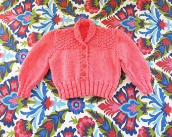knit girls sweater// hand knit sweet pink collar kids sweater// 5 6