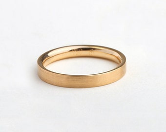 Man Wedding Band Flat Top Gold Ring, 18k Yellow Solid gold, 14k Simple Wedding Men's Gold Comfort Fit Ring Minimal Wedding
