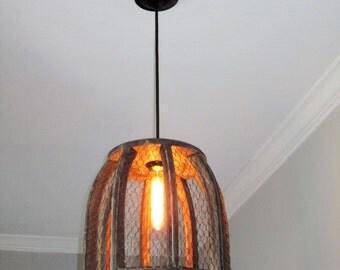 Chicken Wire Farmhouse Pendant Light- Large- rustic lighting, pendant lighting, kitchen lighting