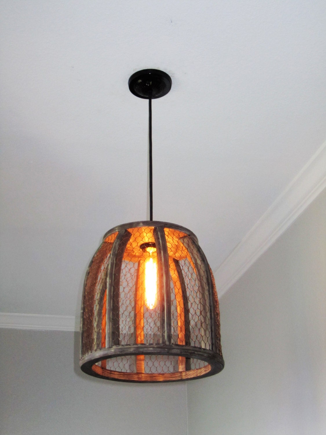 Chicken Wire Farmhouse Pendant Light rustic lighting
