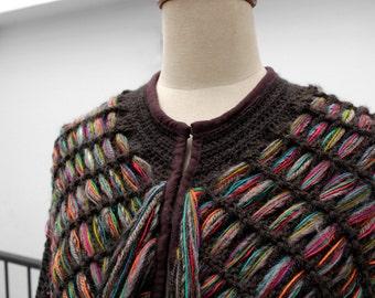 Crochet poncho, Crochet wrap, Fringes poncho, tunic coverup, Cape Coat, Colorful Poncho, Loom knit, Crochet cape, boho poncho, cape poncho