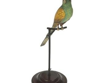 Biological model of green parrot on woonden pedestal