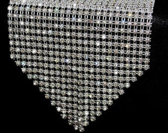 Crystal Rhinestone Table Runner w/ Individually Set Crystals.  Elegant Unique Holiday Tablerunner Decoration for Thanksgiving & Christmas