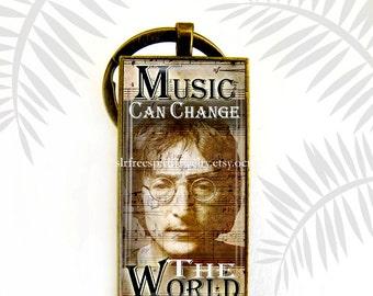"""John Lennon Key Chain, Photo Image Pendant, """"Music Can Change The World"""" John Lennon, Musician, British Musicians, Beatles, gift for guys"""