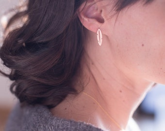 NEW Rose Gold feather earrings, laser, nail, chip, plating is high quality, matte finish