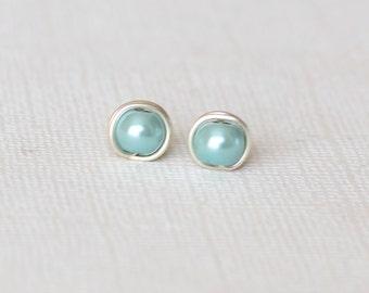 Aqua stud earrings - Minimalist earrings - Post earrings - Gift for women - Wife gift - Boho stud earrings - Aquamarine pearl bead earrings