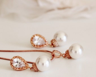 Rose Gold Wedding Jewelry Bridesmaid Jewelry Set Rose Gold Bridesmaid Gift Pearl Earrings and Necklace Set Pearl Bridal Jewelry Set